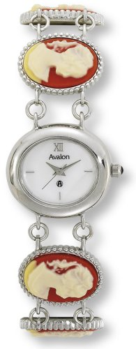 Avalon Women's Silver-Tone Cameo Mother of Pearl Dial Bracelet Watch # 7411S ()