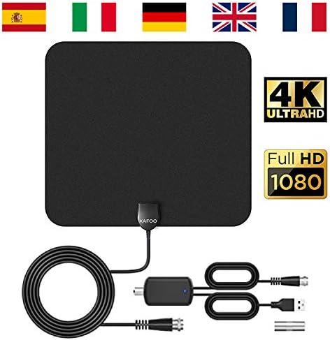 KafooStore Antena TV Interior Potente, Portátil para una Recepción Difícil, Antena TDT Interior, Canales Locales Gratuitos 1080P 4K, Cable Coaxial de ...