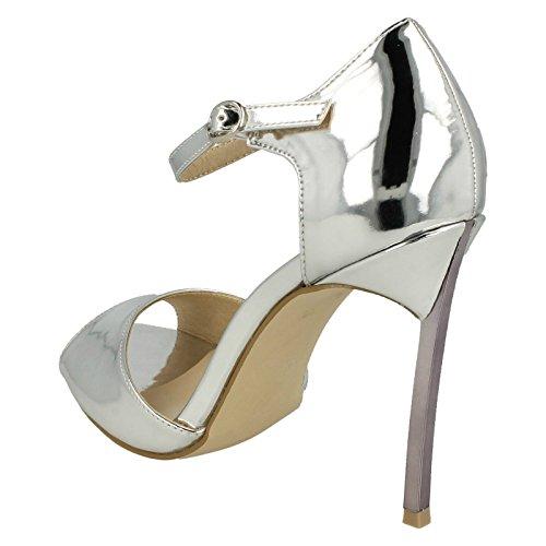Anne Michelle Ladies Peep Toe Sandals Silver OPEzLCw
