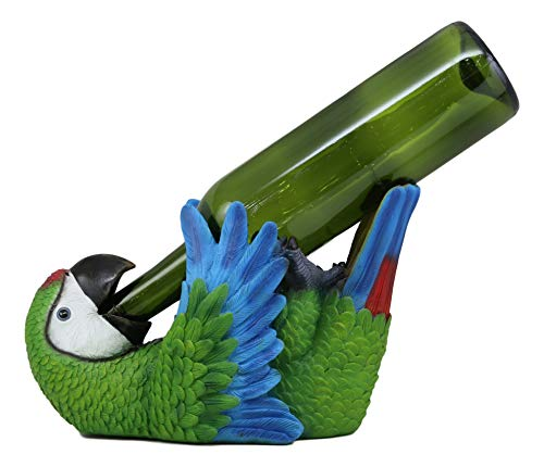 Ebros Gift Tropical Rio Rainforest Scarlet Macaw Parrot Wine Bottle Holder Caddy Figurine 10.25