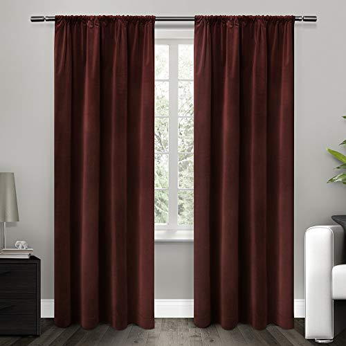 Exclusive Home Curtains Cotton Velvet with Blackout Lining Rod Pocket Window Curtain Panel with Blackout Liner, Burgundy, 54x84
