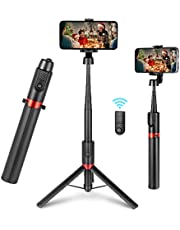 simorr ST20 Portable Selfie Stick Tripod with Bluetooth Remote Extendable Travel Lightweight Tripod Stand for Selfie, Live Streaming, Video Conference, Makeup, Tik Tok Compatible with All Phones - 3375