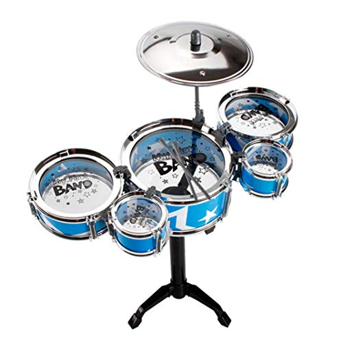 difcuyg5Ozw Lightweight Large Simulation Jazz Band Drum Set Durable Percussion Instrument Educational Kids Toy - Blue 5 Drums ()