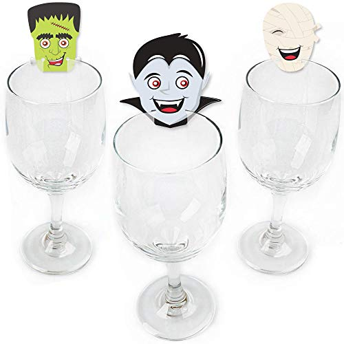 Halloween Monsters - Shaped Skeleton, Mummy, Vampire, Frankenstein & Witch Halloween Party Wine Glass Markers - Set of 24]()