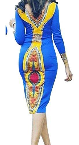Coolred-femmes En Forme Africaine Justaucorps Robe De Soirée Taille Vintage Dashiki Comme Image