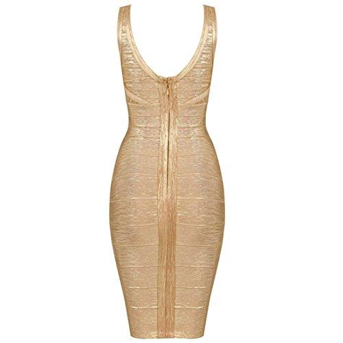 HLBCBG - Vestido - Sin mangas - para mujer Rosa - Gold