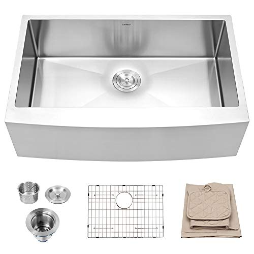Lordear 33 Inch Farmhouse Sink Apron Front 16 Gauge Tight Radius Deep Single Bowl Kitchen Sink