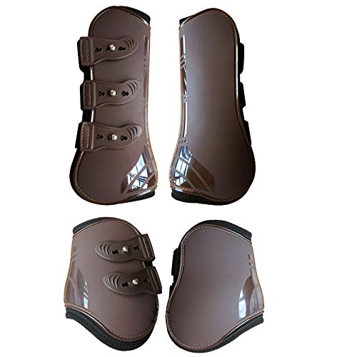 Zelro Open Front Jumping Tendon and Fetlock Horse Boots,Secure Leg Protection, Lightweight and Tough Dressage Sports Boots Set of 4 Pack