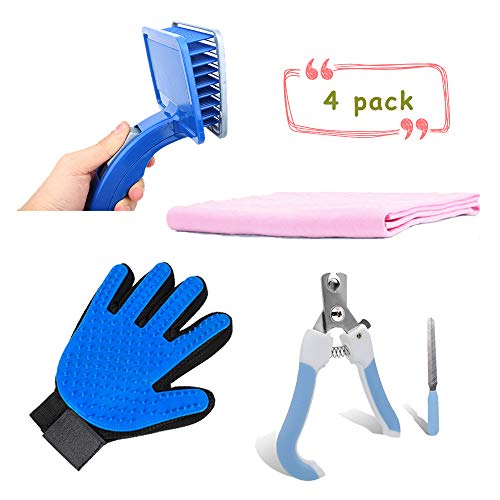 Dog Grooming Kit, Dog Nail Clippers Brush Grooming Scissors Glove Shedding Tools, Cat Hair Remover Five Finger Glove, Soft Slicker Brush Set with Nail File Bath Towel for Long Short Hair Pet (4 pack)