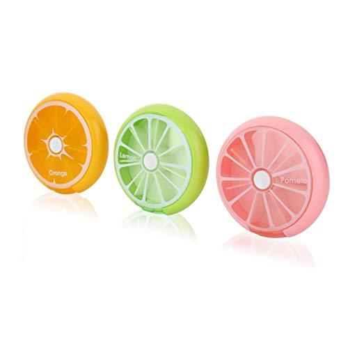 IFY Cute Fruit Style,Portable Rotating 7 Day Weekly Pill Medicine Tablet Holder Storage Case Box Dispenser, Pack of 3 (Orange/Lemon/Pomelo)