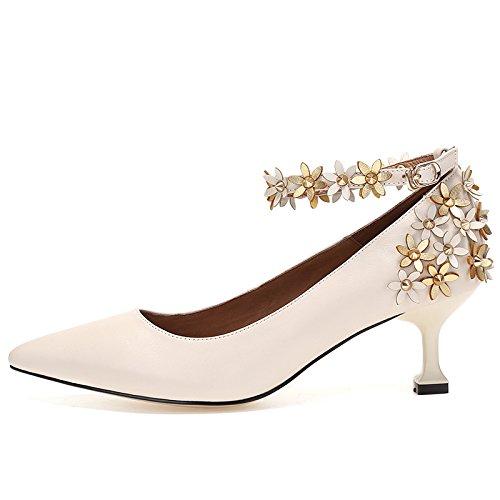 ZHUDJ Frühling Und Herbst Wies Blumen Mit Eleganten Word, High Heel, Schuh Und Schuhe WhiteS Four Seasons Frauen Rice white