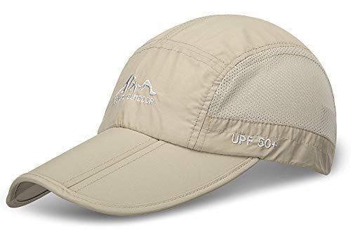JOSENI Outdoor Quick Dry Sun Hat Folding Portable Unisex UV SPF 50+ Baseball Cap (A-khaki)