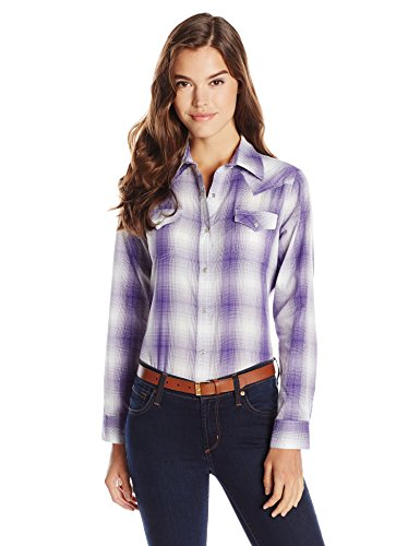 Wrangler Women's Western Fashion Shirts, Purple Plaid, Small