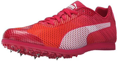PUMA Women's Evospeed Star V4 Track Spike Shoe, Fluorescent Peach/White/Rose Red/White, 10 B US