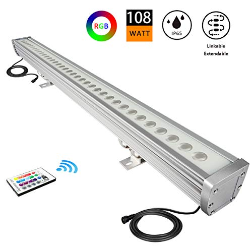 ATCD [Upgrade] 108W Linkable RGB LED Wall Washer Light Fixture, 40 inch Long Slim Outdoor Waterproof Strip Light Bar for Landscape Lighting, Club, Billboard, Church, Wedding, Landmark, Hotel (RGBW) ()