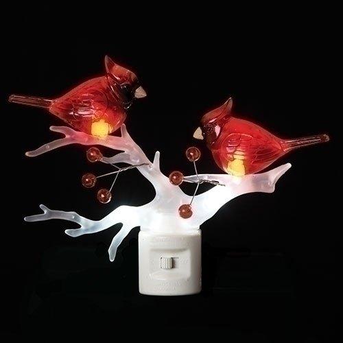 Cardinals on Branch 7 x 6 Inch Plastic Swivel Base Wall Plug In Decorative Night