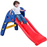 Costway Folding First Slide for Kids Toddlers Children Easy Storage Primary Plastic Climb Toy Indoor Outdoor Garden Playground (Blue+Red)