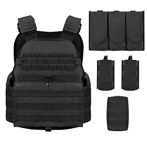 Military Tactical Vest - Barbarians MOLLE Tactical Vest, Outdoor Combat Training Vest Adjustable & Lightweight Black
