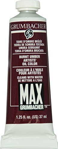 Grumbacher Max Water Miscible Oil Paint, 37ml/1.25 oz, Burnt Umber