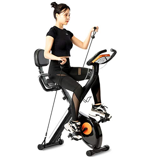 Tiptiper Folding Magnetic Upright Exercise Bike Stationary Bike, Folding Recumbent Bike with Backrest, Resistance Bands and LCD Monitor