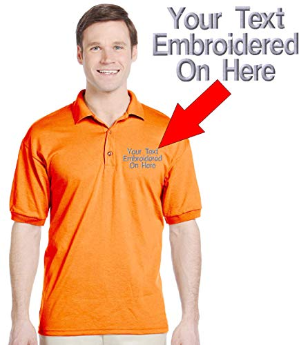 Custom Text Embroidered Jersey Polo, Dry Blend Polo Shirt (2XL, Safety Orange)