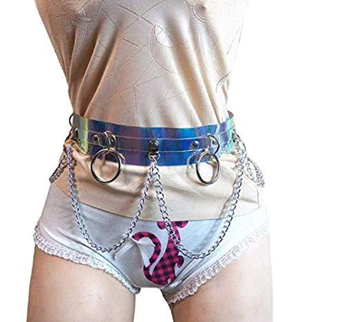 Women Faux Leather Body Harness Garter Belt Adjustable Body Chain Belt Waist Belt With Metal Chain Waist Leg Cage