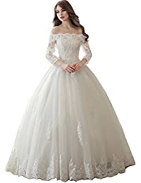sisjuly womens off shoulder lace beaded long sleeve ball gown wedding dress