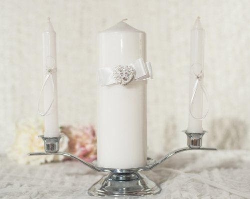 Rhinestone Pearlized Heart Rose Bouquet Wedding Unity Candle Set: Candle Color: ()