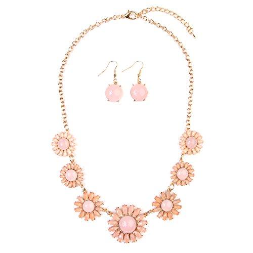 Crystal Daisy Necklace - MYS Collection RIAH Fashion Floral Fashion Statement Necklace - Crystal Daisy Bold Acrylic Jewel Collar Bib & Drop Earrings Set (Light Pink)