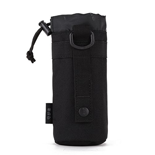 CREATOR Adjustable Tactical Water Bottle Pouch Foldable MOLLE Water Bottle Holder Attachment Carrier for Backpack/Waist Bag/Belt - Black