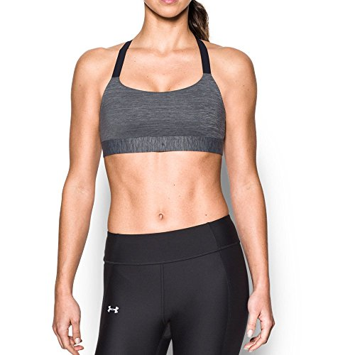 Eclipse Heather - Under Armour Women's Armour Eclipse Heather Mid Impact Sports Bra, Carbon Heather/Metallic Silver, Large