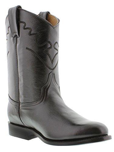 s Brown Embroidered Design Smooth Leather Cowboy Boots Roper 14 EE (Smooth Mens Roper)