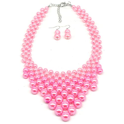 - MeliMe Faux Big White Red Pearl Choker Necklaces Flapper Beads Wedding Jewelry for Women Mother (Pink)