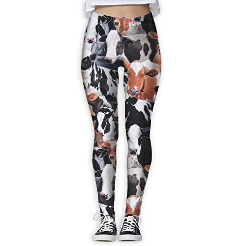 Farm Animal Cows & Bulls Women Printed Full-Length Yoga Workout Leggings For Running Outdoor (Training Pants Farm)