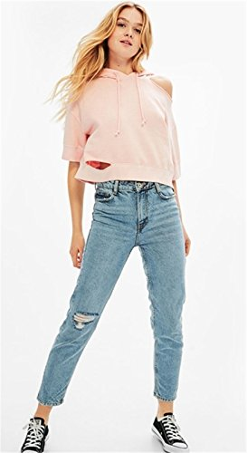 Manga 3/4 Cold Open Shoulder Hombros al Descubiertos Aire Distressed Cut Off Rotos Corta Corto Sudadera Tee Crop Top Rosa