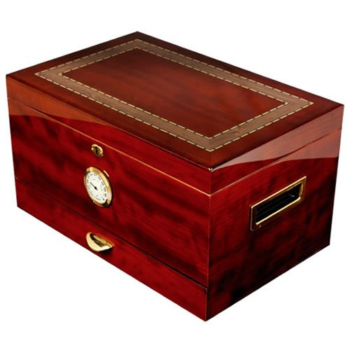 High Gloss Piano Finish Rosewood With Exotic Wood Inlay On Top - Spanish Cedar Interior. Holds 150 Cigars (16 3/8' X 10 5/8' X 9 1/8') - Arte Original (Crafters Humidor Cuban)