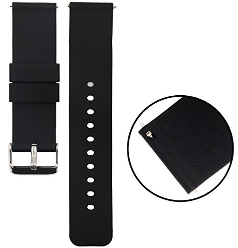 Watch Bands 18mm 20mm 22mm, Tuisy Universal Quick Release Silicone Adjustable Watch Straps Replacement Soft Rubber Wrist Band for Men Women - Black (Rubber Watch Band Wrist)