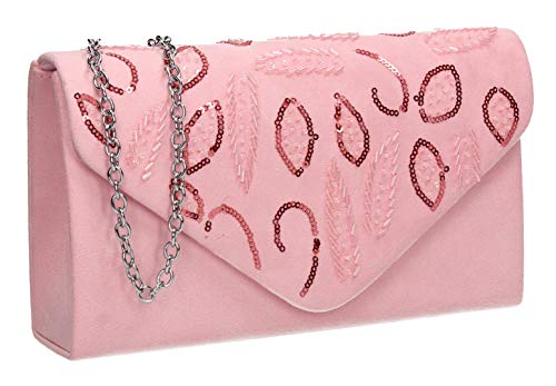Faux Bag Clutch Suede Party Charlie Prom Pink Womens SWANKYSWANS Sequin 5xnU1v0x8q