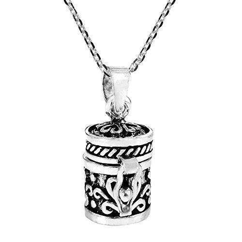 - AeraVida Heart Prayer Box Keepsake .925 Sterling Silver Pendant Necklace