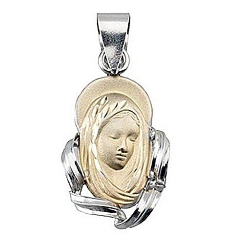 Pendentif 18k or et médaille d'argent Virgin loi Nina [4962]