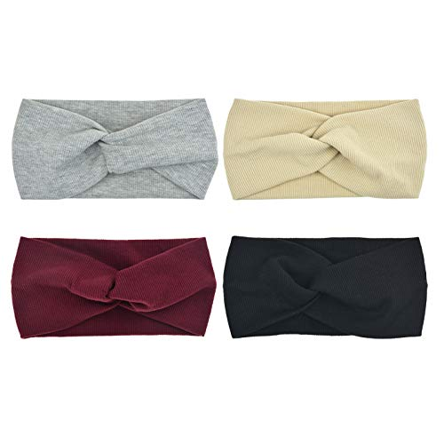 DRESHOW 4 Pack Turban Headbands for Women Hair Vintage Flower Printed Cross Elastic Head Wrap ()