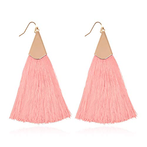 RIAH FASHION Bohemian Silky Thread Fan Tassel Statement Drop - Vintage Gold Feather Shape Strand Fringe Lightweight Hook/Acetate Dangles Earrings/Long Chain Necklace (Classic Tassel - Dusty Pink)