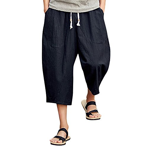Men's Baggy Cotton Linen Pants,Casual Pocket Drawstring Calf-Length Harem Pants Beach Sports Long Shorts (L, Black)
