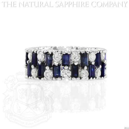 18K WHITE GOLD, BAGUETTE SAPPHIRE AND DIAMOND RING (J4011) ()