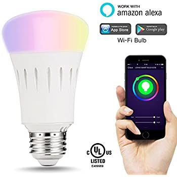 LOHAS Smart LED Bulb, Wi-Fi Light, Multicolored LED Bulbs(UL Listed), A19 LED Dimmable 60W Equivalent(9W), Smartphone Controlled Daylight & Night Light, Home Lighting Works with Amazon Alexa(1 Pack)
