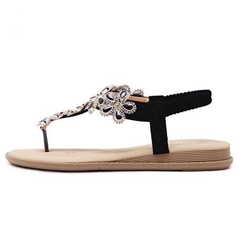 Infradito Boemo Tacco Piatto Landove Stile Mare Pantofole Donna con Sandali Estive Moda Strass Scarpe r4rawqH