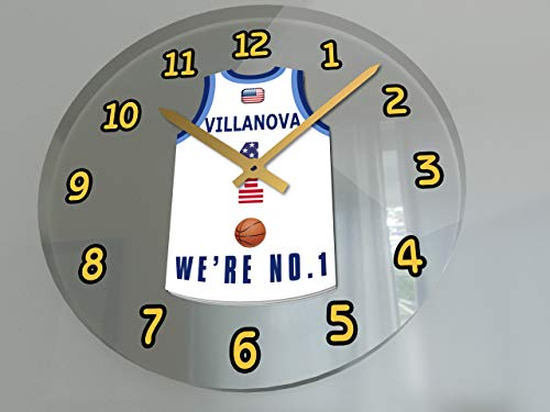 FanPlastic College Basketball USA - We're Number ONE College Hoops Wall Clocks - Support Your Team !!! (Villanova Wildcats)