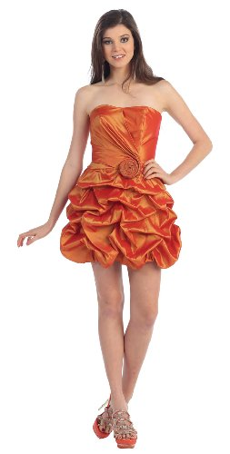 Strapless Flower Pick-up Formal Bridesmaid Prom Dress #689 (20, Orange)