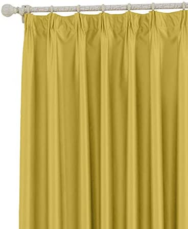 COFTY Classic Solid Thermal Insulated Blackout Curtain Panel Drapes Yellow – 200Wx102L Inch 1 Panel – Pinch Pleat Top – for Bedroom Living Room Club Restaurant
