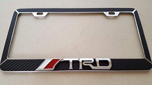 - Toyota TRD Chrome 3D on Black Carbon Fiber Style Chrome Metal License Frame